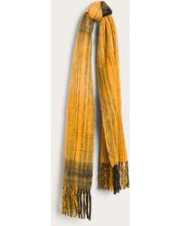 Frye Brushed Stripe Fringe Scarf - Yellow