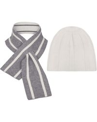 THE GUESTLIST Pugila Scarf & Paolo Hat Combo - White