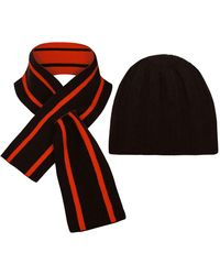 THE GUESTLIST Pugila Scarf & Paolo Hat Combo - Brown