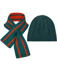 THE GUESTLIST Pugila Scarf & Paolo Hat Combo - Green