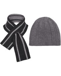 THE GUESTLIST Pugila Scarf & Paolo Hat Combo - Grey