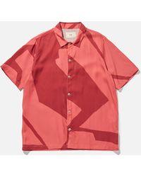 Folk Gabe Border Print Shirt - Red