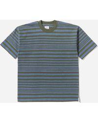 Garbstore Striped Short Sleeve T-shirt - Blue