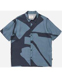 Folk Gabe Border Print Shirt - Blue