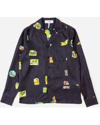 Soulland Joe Silk Shirt With Bowling Collar - Blue