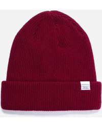 Norse Projects Logo Beanie - Red