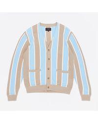 Beams Plus Striped Cardigan - Natural