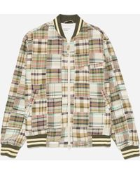 Universal Works Check Patchwork Bomber Jacket - Green