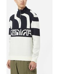by Parra Shoulder Waves Half Zip Sweatshirt - White