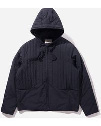 Folk Wadded Junction Hooded Jacket - Blue
