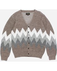 Beams Plus Linen Jacquard Cardigan - Brown
