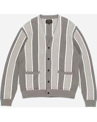 Beams Plus Striped Cardigan - Gray