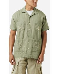 Corridor NYC Linen Floral Embroidered Shirt - Green