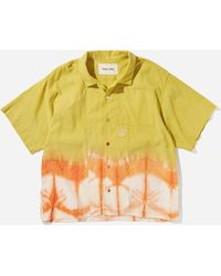 STORY mfg. Tie Dyed Organic Linen Greetings Shirt - Yellow