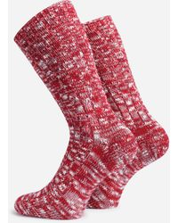 Anonymous Ism Slub Crew Socks - Red