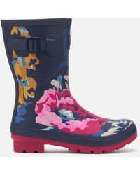 Joules Molly Mid Height Printed Wellies - Blue