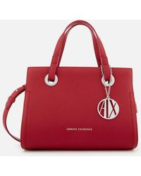 Armani Exchange Small Shopper With Cross Body Bag - Red