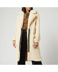 Free People Tessa Longline Teddy Coat - Natural
