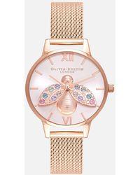 Olivia Burton Rainbow Bee Sunray Mesh Watch - Pink
