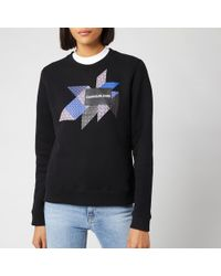 Calvin Klein Quilt Graphic Crew Neck Sweatshirt - Black