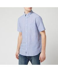 GANT Tp Sunsucker Stripe Red Bd Short Sleeve Shirt - Blue