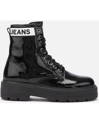 Tommy Hilfiger Patent Leather Flatform Boots - Black