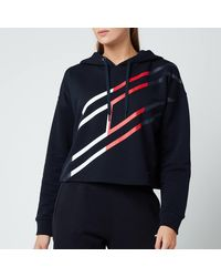 Tommy Sport Relaxed Flag Graphic Hoodie - Blue