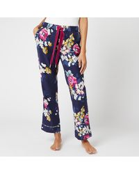 Joules Snooze Floral Pyjama Bottoms - Blue