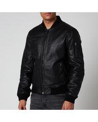 Superdry Leather Bomber Jacket - Black