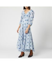 Free People Sea Glass Midi Dress - Blue