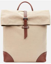 Ted Baker Featt Recycled Canvas Backpack - Natural