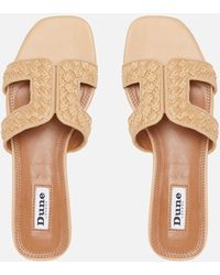 Dune Loupe Raffia Flat Sandals - Natural