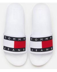 Tommy Hilfiger Flag Pool Slide Sandals - White