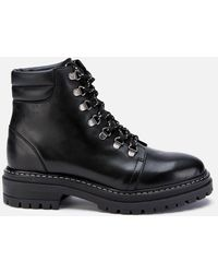 Whistles Amber Leather Hiking Style Boots - Black