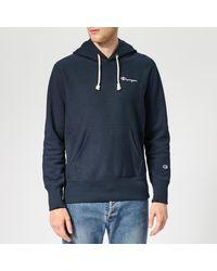 Champion Small Logo Hooded Sweatshirt - Blue