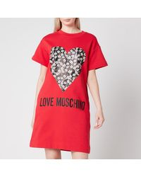 Love Moschino Floral Heart T-shirt Dress - Red