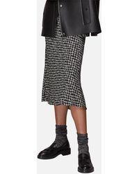 Whistles Landmark Print Bias Cut Skirt - Black