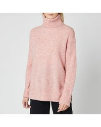 Whistles Oversized Roll Neck Knitted Jumper - Pink