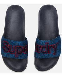 Superdry Classic Embroidered Pool Slide Sandals - Blue