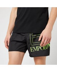 EA7 Sea World Bw Big Logo Boxer Swim Shorts - Black