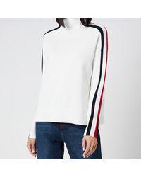 Tommy Hilfiger Side Stripe Mock Neck Sweater - White