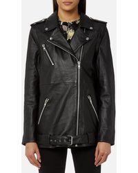 Gestuz Keiko Long Leather Jacket - Black