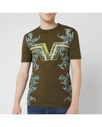 Versace Central V T-shirt, Moss Green Tee