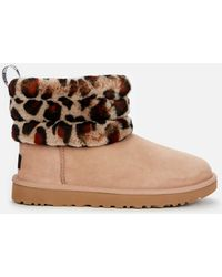UGG Fluff Mini Quilted Leopard Sheepskin Boots - Gray