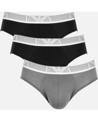 Emporio Armani Monogram 3-pack Briefs - Black