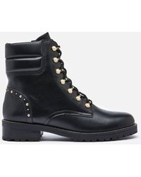 Dune Pearlise Leather Lace Up Boots - Black