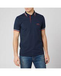 BOSS Paul Curved Polo Shirt - Blue