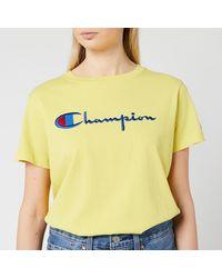 Champion Women's Large Script Logo Tee - Yellow