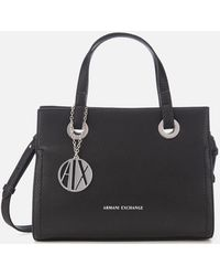 Armani Exchange Small Shopper With Cross Body Bag - Black