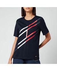 Tommy Sport Regular Large Flag Crew Neck T-shirt - Blue